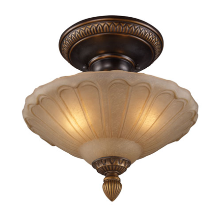Semi Flush 3 Light With Golden Bronze Finish Antique Amber Glass Medium Base 12 inch 225 Watts - World of Lamp