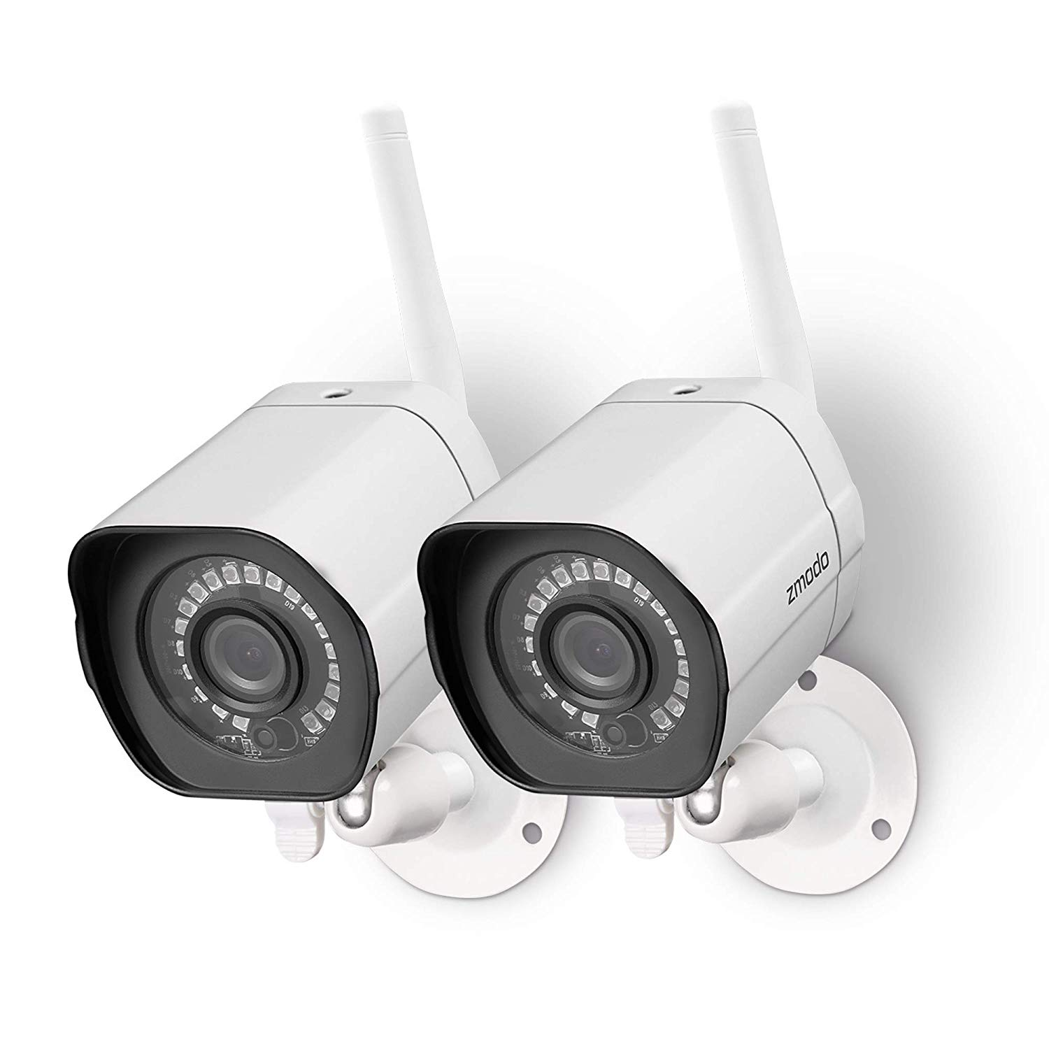 Zmodo 720p HD Outdoor Home Wifi Security Surveillance Video Cameras System (2 Pack), Work with Google Assistant - Free 6-Month Cloud Service Available