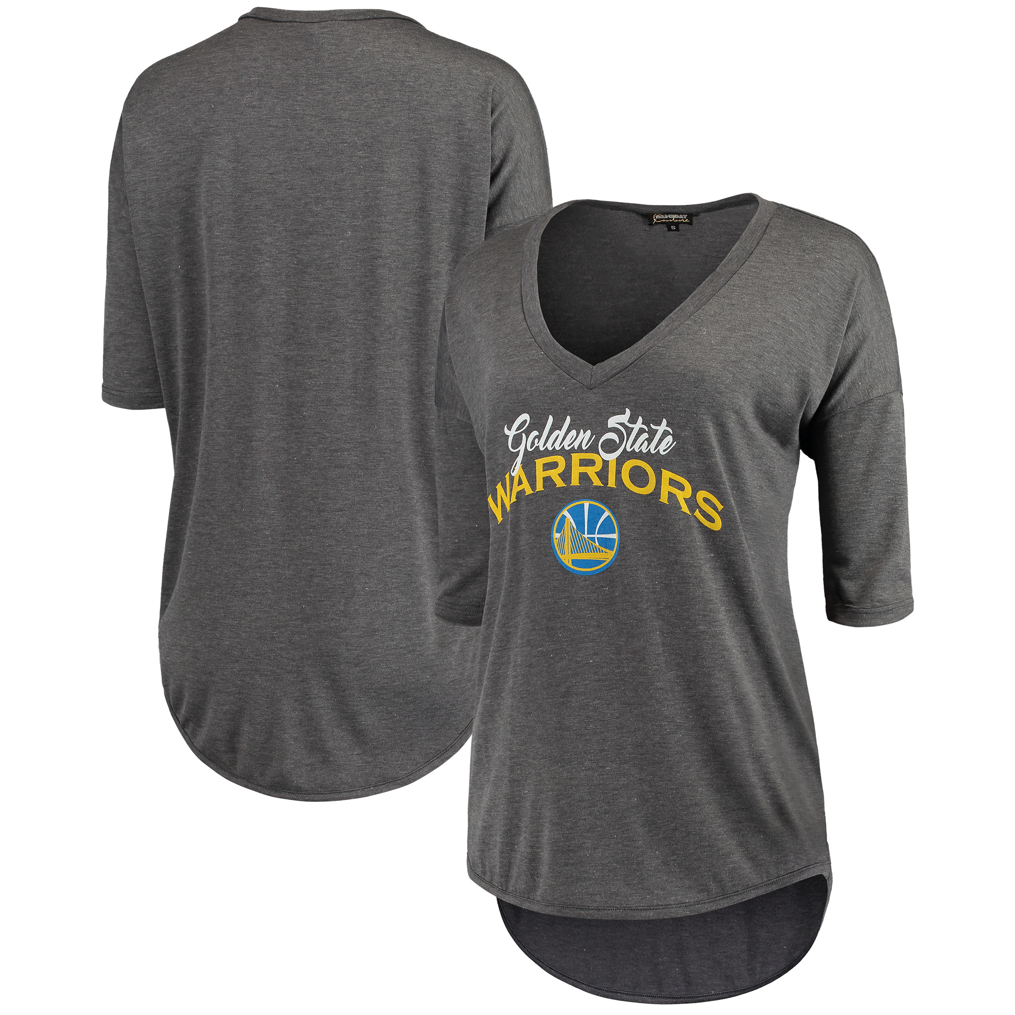 Golden State Warriors Women's Deep V-Neck Tri-Blend Half-Sleeve T-Shirt - Gray
