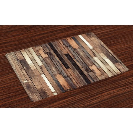 Wooden Placemats Set of 4 Brown Old Hardwood Floor Plank Grunge Lodge Garage Loft Natural Rural Graphic Artsy Print, Washable Fabric Place Mats for Dining Room Kitchen Table Decor,Brown, by Ambesonne