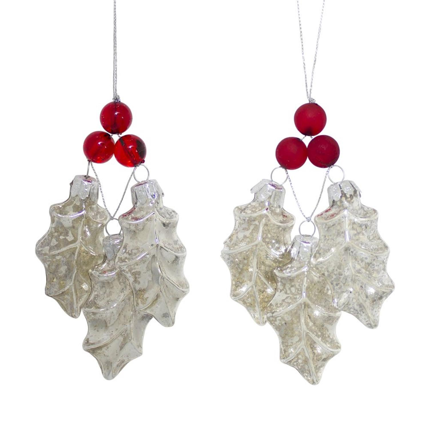 Club Pack of 12 Red and Clear Holly Leaves with Berry Christmas Tree Ornaments 8.5""
