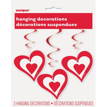 Hanging Red Heart Decorations, 26in, 3ct