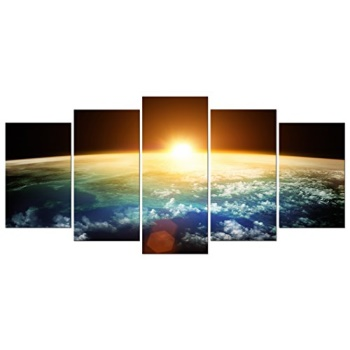 Pyradecor The Earth Canvas Prints Wall Art Outer Space Pictures Paintings  Ready To Hang For Living