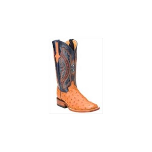 Ferrini 8019302090B Ladies Full Quill Ostrich Square Toe Boots, Cognac 9B by
