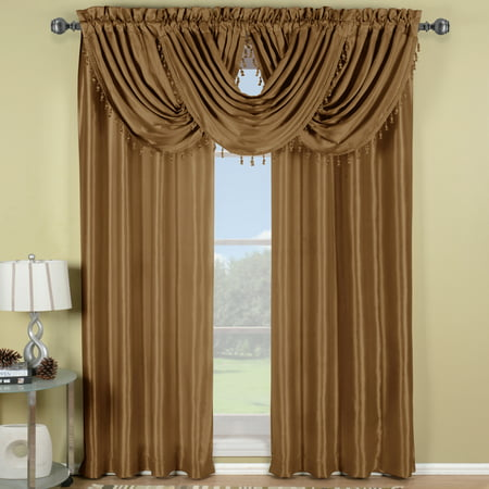 Single Soho Faux Silk Waterfall Window Valance- Mushroom - 57x37