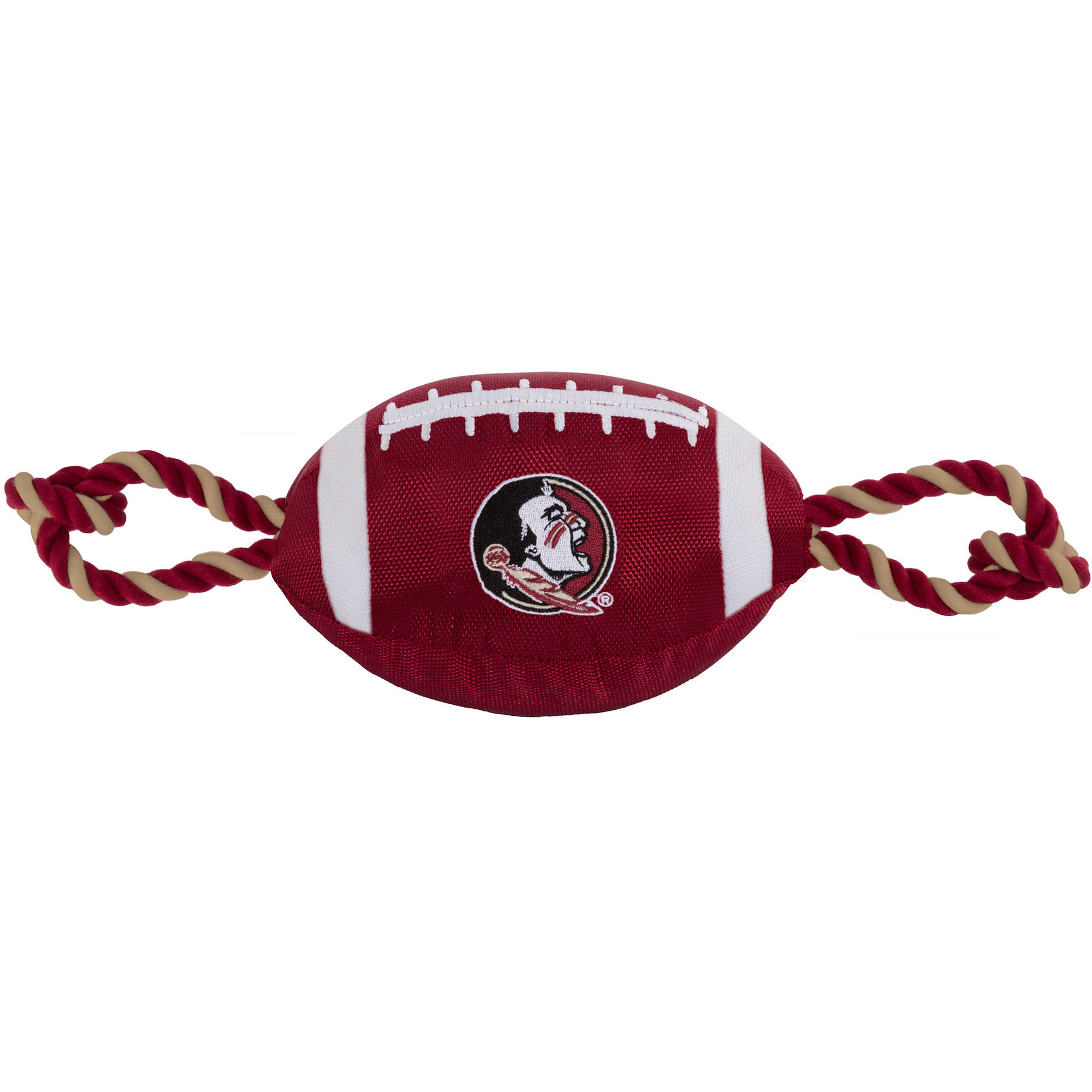 NCAA Florida State Seminoles Strong, Durable, Chewable Football Dog Toy with Inner Squeaker and Side Ropes, Officialy Licensed