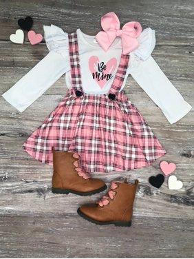 Toddler Girls Valentine's Day Outfit, Pink Plaid Be Mine Heart Suspender Set, So Sydney