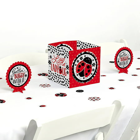 Happy Little Ladybug - Baby Shower or Birthday Party Centerpiece and Table Decoration Kit - Ladybug Centerpieces