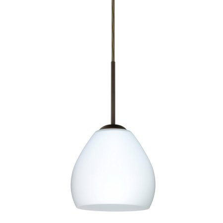 Besa Lighting 1BT-412207 Bolla 1-Light Cord-Hung Mini Pendant with Opal Matte Glass Shade