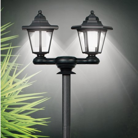 Collections Etc 3-in-1 Solar Outdoor Lamp Pole with Dual Lanterns - Stake or Mountable Light Soji Solar Lantern
