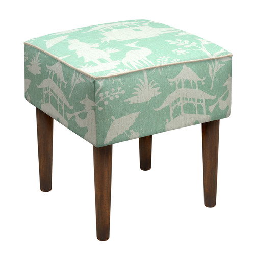 123 Creations Chinoiserie Upholstered Vanity Stool