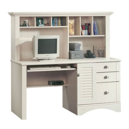 Sauder Harbor View Computer Desk with Hutch - Antiqued White ()