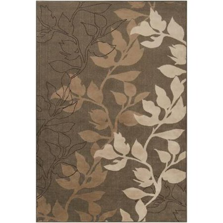5.25' x 7.5' Floral Silhouette Tan and Brown Shed-Free Area Throw Rug ()