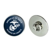 """American by Birth Marine by Choice USMC White Blue Officially Licensed Metal 1.1"""" Tie Tack Hat Lapel Pin Pinback"""