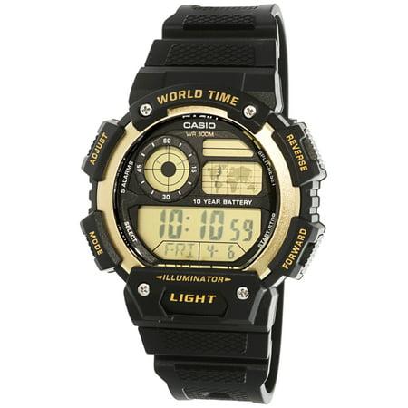 Men's Classic Digital World Time Watch, Black/Gold - AE1400WH-9AV