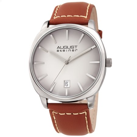 - Silver Tone Casual Quartz Watch With Leather Strap [AS8245GYBR]