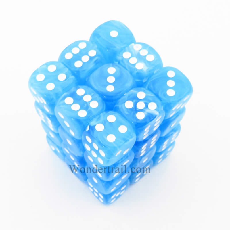 Light Blue Cirrus Dice with White Pips D6 12mm (1/2in) Pack of 36 Chessex