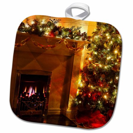 3dRose Beautiful Christmas Tree Lights with a Fire in the Fireplace - Pot Holder, 8 by 8-inch ()