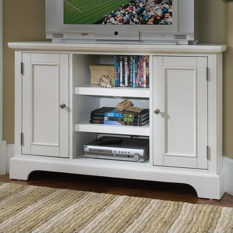 """Home Styles Naples 50"""" Corner Entertainment Credenza in White - image 1 of 2"""