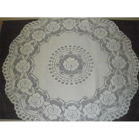 Tapestry Trading 652W36 36 inch European Lace Table Topper, White - Table Topper