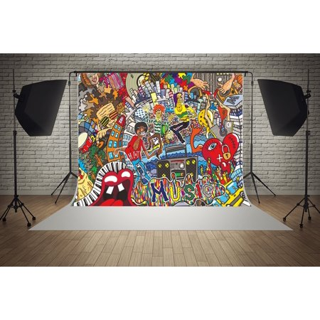GreenDecor Polyster 7x5ft Graffiti 90s Hip Hop Music Street Art Party Decorations Photography Backdrop Photo Booth