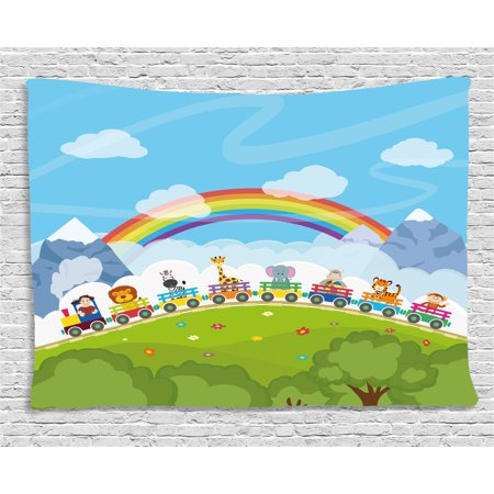 Train Mountain Railroad - Nursery Tapestry, Cartoon Railway Train with Various Animals and a Rainbow Mountains Clouds Trees, Wall Hanging for Bedroom Living Room Dorm Decor, 80W X 60L Inches, Multicolor, by Ambesonne