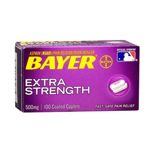 Bayer Extra Strength Aspirin 500 mg, Coated Caplets, 100 ea (Pack of 2)