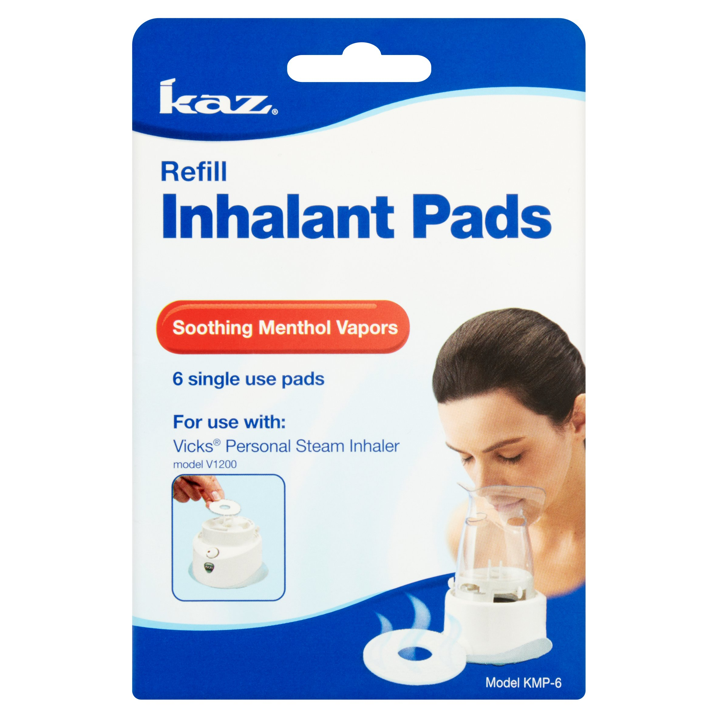 Kaz Soothing Menthol Vapors Refill Inhalant Pads, 6 count