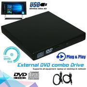 Slim External USB 2.0 DVD Drive CD RW Writer Burner Reader Player for PC Laptop