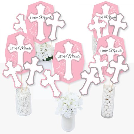 Little Miracle Girl Pink & Gray Cross - Baptism or Baby Shower Centerpiece Sticks - Table Toppers - Set of - Baptism Centerpieces