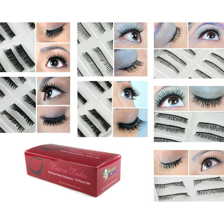 Bundle Monster 70 Pairs Fake / False Eyelashes - 7 Different Styles - 10 Pairs Each Variety Pack Set - Feather Fake Eyelashes