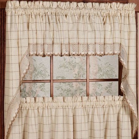 Adirondack Cotton Kitchen Window Curtains - Toast - 38