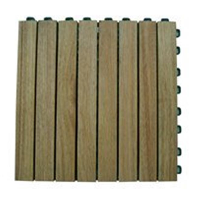 Outdoor Patio 8-Slat Acacia Interlocking Deck Tile (Set of 10 Tiles)  - V355 - image 4 of 4