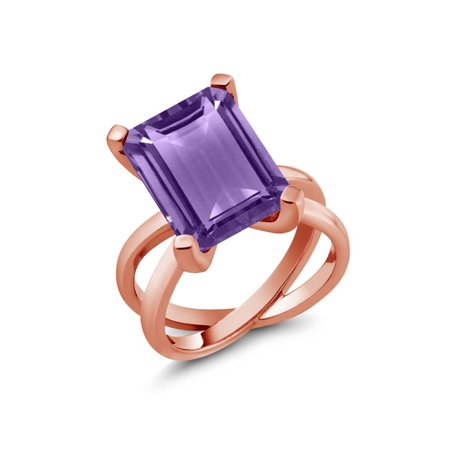 7.00 Ct Octagon Purple Amethyst 18K Rose Gold Plated Silver X Ring - image 2 de 2