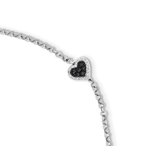 Sterling Silver Diamond & Sapphire Heart Bracelet