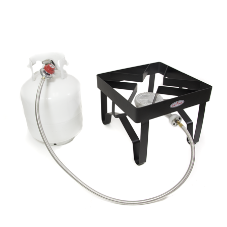 Gas One Propane Single Burner, Outdoor Cooker with Regulator and Hose (Square - Burner Outdoor Cooker