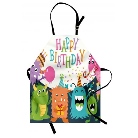 Kids Birthday Apron Little Baby Monsters with the Party Cones Confetti Rain and Balloons Image, Unisex Kitchen Bib Apron with Adjustable Neck for Cooking Baking Gardening, Multicolor, by Ambesonne - Confetti Cones