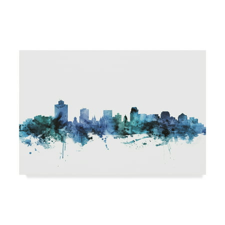 Trademark Fine Art 'Salt Lake City Utah Blue Teal Skyline' Canvas Art by Michael - Costume Store Salt Lake City