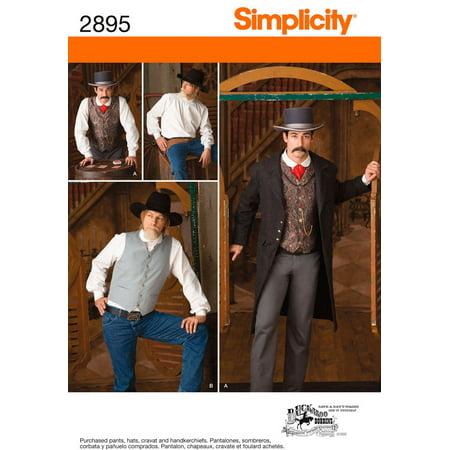 Simplicity Men's Size 38-44 Frock Coat, Shirt & Vest Pattern, 1 - Pattern Jacket Vest