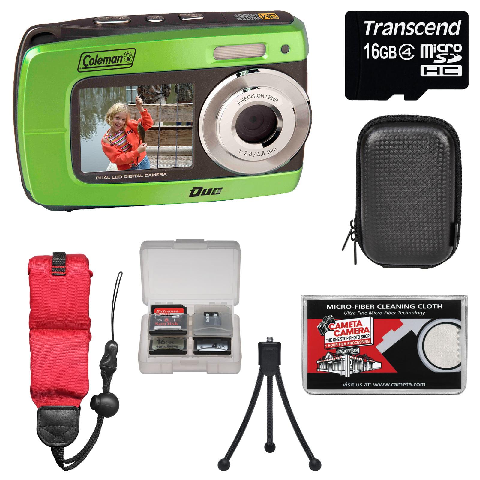 Coleman Duo2 2V8WP Dual Screen Shock & Waterproof Digital Camera (Orange) with 16GB Card + Case + Floating Strap + Tripod + Kit
