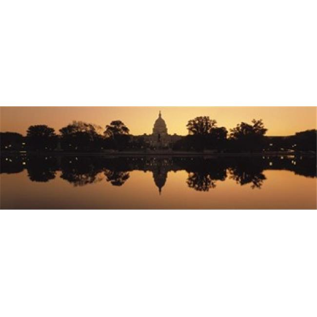 Reflection of a government building in water at dusk  Capitol Building  Washington DC  USA Poster Print by  - 36 x 12 - image 1 of 1