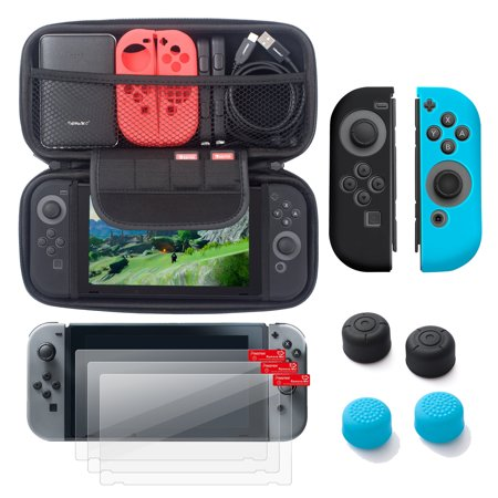 Nintendo Switch 6 Items Starter Kit  By Insten Carrying Case Hard Shell Cover   3 Pack Lcd Film   Joy Con Controller Skin  Left Black Right Blue    Joy Con Thumb Grip Stick Caps For Nintendo Switch