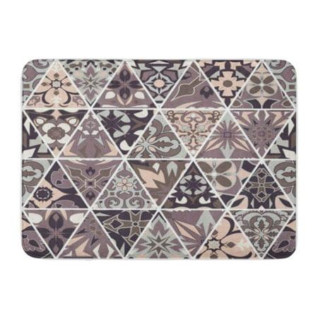 SIDONKU Brown Mosaic Patchwork Triangle Portuguese Azulejos Pattern Ornamental Doormat Floor Rug Bath Mat 23.6x15.7