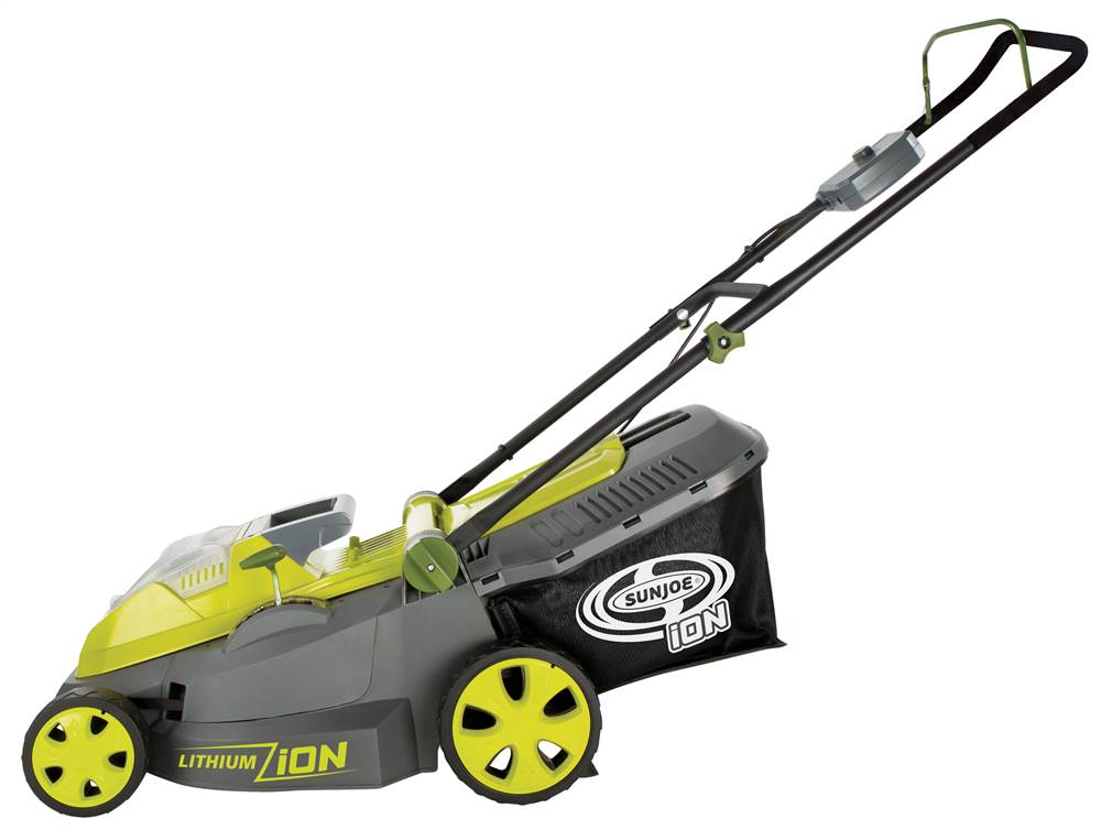16 in. Lawn Mower with Brushless Motor in Gray and Green by Snow Joe