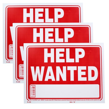 Bazic Small 9 x 12 Inches Help Wanted Sign, Pack of 3 (S-20) Bazic Small 9 x 12 Inches Help Wanted Sign, Pack of 3 (S-20)