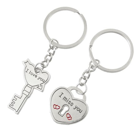 2 Pcs Couple Love Key Heart Shape Chain Keychain Silver Tone - image 1 de 1