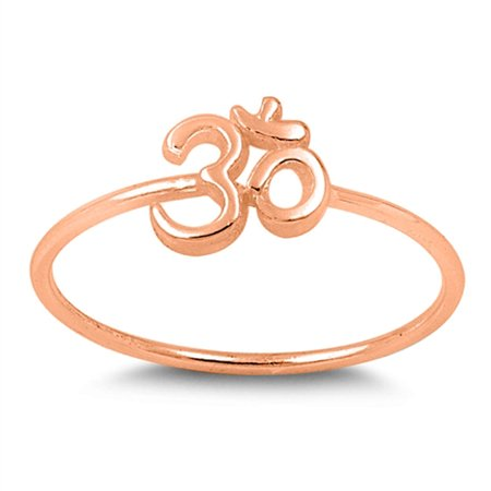 CHOOSE YOUR COLOR Rose Gold-Tone Hindu Om Sign Yoga Ring New .925 Sterling Silver Band (Rose Gold-Tone/Ring Size 9)