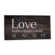 """Love Makes a House a Home - on Wood Print - 5"""" by 11"""" Key Hanger Rack - Household Decoration with Four Silvertone Hooks"""