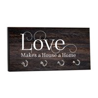 "Love Makes a House a Home - on Wood Print - 5"" by 11"" Key Hanger Rack - Household Decoration with Four Silvertone Hooks"