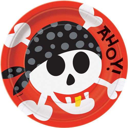 "9"" Pirate Party Plates, 8 Count"